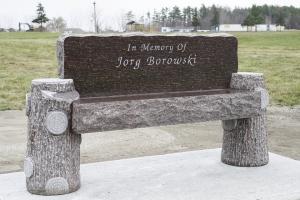 Borowski Brown Tree Stump Style Bench.JPG