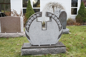 mahogany - circle shape - cut out cross - grave stone