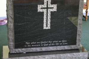 black - scalloped cross - epitaph - grave stone