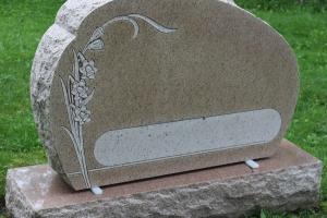 lillies - pink granite - grave stone
