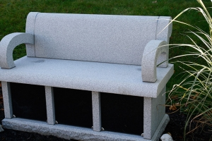cremation bench - barre gray - black doors - 3 niche - grave stone