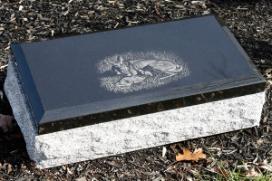 black cap - etching - bevel - deer - grave stone
