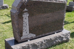 lighthouse - burgundy - rock border - grave stone