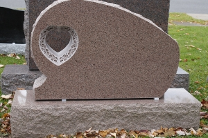 pink - heart cut out - gravestone