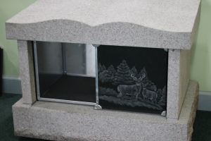 barre gray - black niche doors - 2 niche columbarium - grave stone